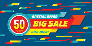 Big sale abstract vector origami horizontal banner - special offer 50% off. Sale vector banner. Sale abstract background. Stock Photos