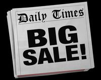 Big Sale Advertisement Clearance Event Newspaper Headline 3d Ill. Ustration Royalty Free Stock Images