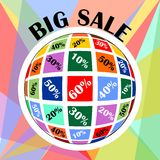 Big sale advertisement. Percent discount in sphere shape. Royalty Free Stock Images