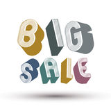 Big Sale advertising phrase made with 3d retro style geometric l Royalty Free Stock Photo