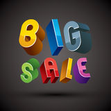 Big Sale advertising phrase made with 3d retro style geometric l Stock Photo