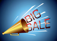 Big sale announcement. A megaphone or bullhorn making a big sale announcement on a blue background Stock Image