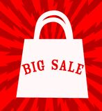 Big sale announcement with shopping bag over red background. vec Royalty Free Stock Photos