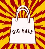 Big sale announcement with shopping bag over red background. vec. Tor illustration, eps 10 vector illustration