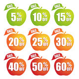 Big Sale apple shape colorful tags Royalty Free Stock Photo