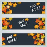Big sale autumn banners vector templates Royalty Free Stock Image