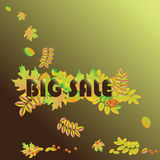BIG SALE Autumn and great seasonal discounts. Vector sale banner template. Royalty Free Stock Photography
