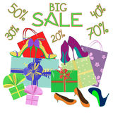 Big sale background of shoes and gift wrap Royalty Free Stock Photography