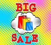 Big Sale, bags packages, pop art retro comic style vector. Black vector illustration