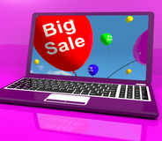 Big Sale Balloon On Laptop Shows Online Discounts Stock Photography