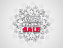 Big sale banner with autumn leaves. Fall sale vector design for retail advertising campaigns. Poster, concept, leaflet, flyer. Vector Illustration. EPS 10 Royalty Free Stock Images
