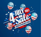 Big Sale banner with balloons for Independence day. Offer of 50 per cent discount. Template for your design, card, flyer, poster for 4th of July in USA. Vector stock illustration