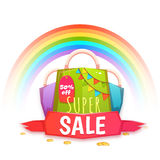 Big sale banner with color packet and confetti. Vector illustration.  Stock Photos