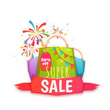Big sale banner with color packet and confetti. Vector illustration.  Royalty Free Stock Photo