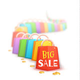 Big sale banner with color packets and coins. Vector illustration Royalty Free Stock Image