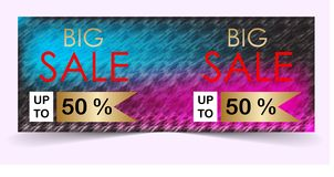 Big sale banner with colorful background stock images