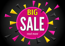 Big sale banner on colorful geometric background. Big sale banner on colorful geometric background in black and pink colors. Discount. Vector template Royalty Free Stock Photo