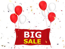 Big sale banner. 3d rendered big sale banner with red cloth banner, red balloons and confetti Royalty Free Stock Images