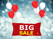 Big sale banner. 3d rendered big sale banner with red cloth banner, red balloons and confetti Stock Photo