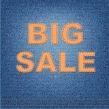 Big sale banner on denim Royalty Free Stock Image