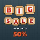 Big sale banner design. Letters lie in open boxes on black background. Vector illustration Stock Photography