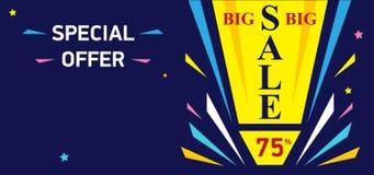 Big sale banner - discount 75 off. Special offer design layout. Sale autumn season. Bright vector banner on dark blue background royalty free illustration