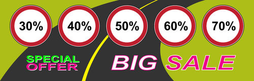 Big sale banner. Banner big sale and discounts. Vector illustration Royalty Free Stock Photography