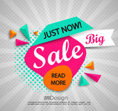 Big sale - banner with halftone background. Royalty Free Stock Photo