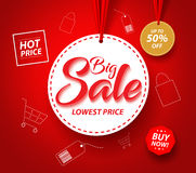 Big Sale Banner with Hanging Circle White Tag Price and Icons Stock Photography