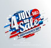 Big Sale banner for Independence day. Offer of 50 per cent discount. Template for your design, card, flyer, poster for 4th of July in USA. Vector illustration Royalty Free Stock Photography