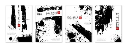 Big sale banner with ink splashes on background. Discounts royalty free illustration