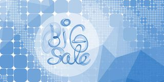 Big sale banner lettering written with blue smoke or flame on geometric square and round abstract background.  Royalty Free Stock Photos