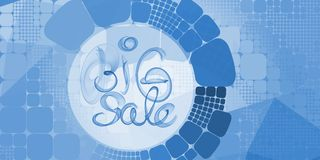 Big sale banner lettering written with blue smoke or flame on geometric square and round abstract background Stock Images