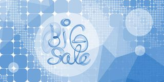 Big sale banner lettering written with blue smoke or flame on geometric square and round abstract background.  Royalty Free Stock Images