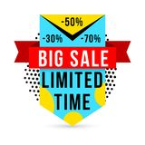 Big sale banner. Limited time for special offer and discounts, bright sign for shop customers. Vector flat style cartoon illustration isolated on white Royalty Free Stock Images
