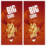 Big sale banner 30 and 40 percent off gold red background. Big sale banner 30 and 40 percent off special offer gold red background Royalty Free Stock Photo