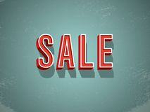 Big sale banner or poster vector with retro vintage grunge worn creative extruded letters with bezels. Sale promotion. Special offers and discounts advertising stock illustration