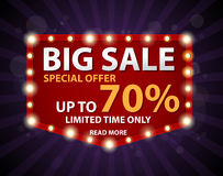 Big Sale Banner with Retro sign. Illustration of Big Sale Banner with Retro sign Royalty Free Stock Photography