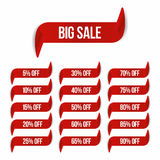 Big sale banner in ribbon form. Sale labels collection with different percent of discount Royalty Free Stock Photos