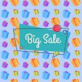 Big Sale Banner Seamless Pattern Shopping Bags Stock Images