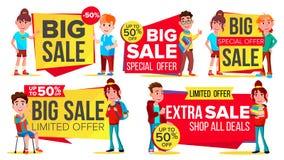 Big Sale Banner Set Vector. School Children, Pupil. Kids School Shopping. Half Price Colorful Stickers. Mega Sale Poster. Big Sale Banner Set Vector. School vector illustration