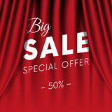 Big sale banner. Special offer. Fifty percent off. Realistic red curtain background. Vector. Royalty Free Stock Images