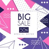 Big sale banner, special offer 50 percent off, seasonal discount, advertising poster with geometric shapes vector. Illustration, web design Royalty Free Illustration