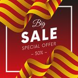 Big sale banner or sticker. Special offer. Fifty percent off. Catalonia flag. Vector illustration. Big sale banner or sticker. Special offer. Fifty percent off Stock Image