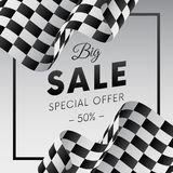 Big sale banner or sticker. Special offer. Fifty percent off. Checkered flag. Vector illustration. Big sale banner or sticker. Special offer. Fifty percent off vector illustration