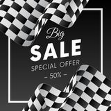 Big sale banner or sticker. Special offer. Fifty percent off. Checkered flag. Vector illustration. Big sale banner or sticker. Special offer. Fifty percent off Stock Images