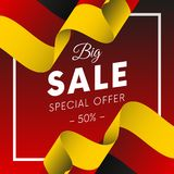Big sale banner or sticker. Special offer. Fifty percent off. Germany flag. Vector illustration. Big sale banner or sticker. Special offer. Fifty percent off Stock Photos