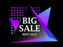 Big sale banner in style 80s. Isometric triangle gradient. Vector. Illustration royalty free illustration