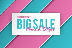 Big sale banner template design. Banner design with paper cut background. Paper art and craft style. stock images