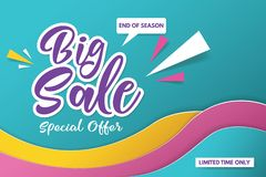 Big sale banner template design. Banner design with paper cut background. Paper art and craft style. royalty free stock photos